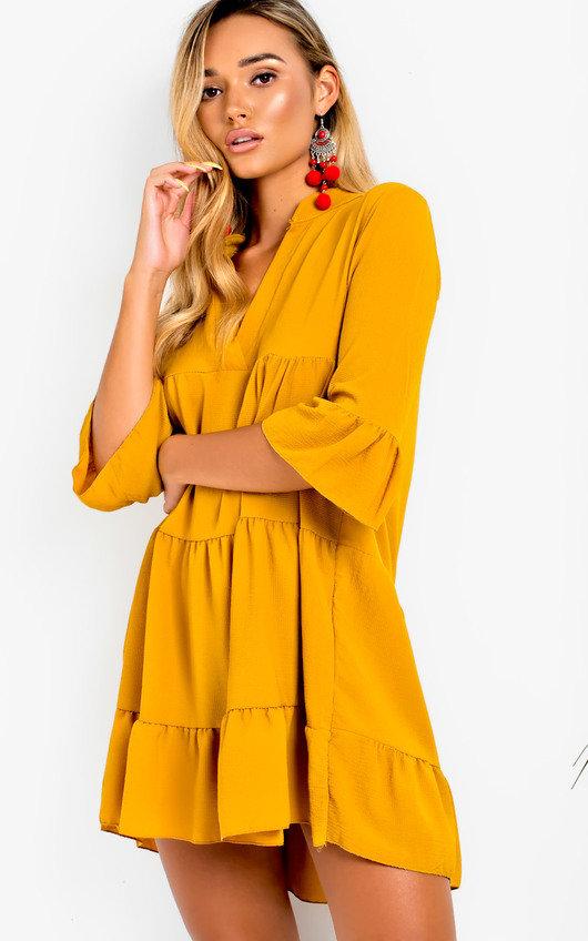 daa4964469 Tayla Flare Smock Dress in Mustard