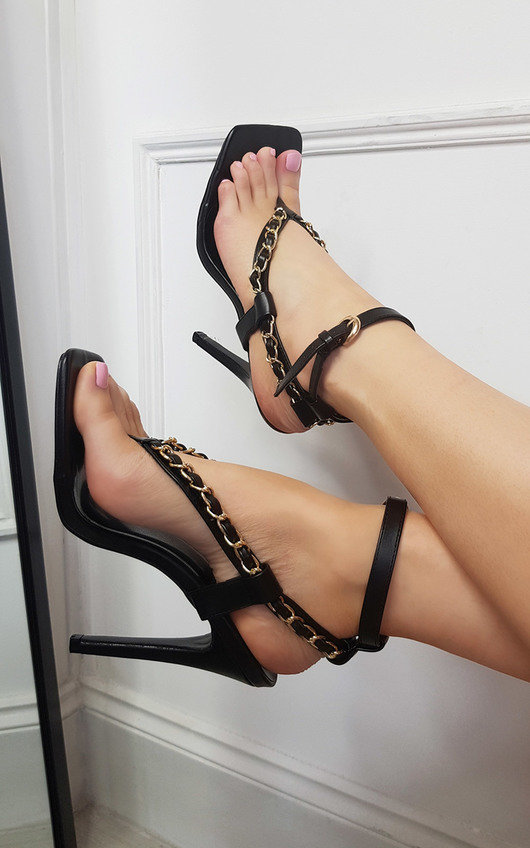 Taylor Strappy High Heels with Chain Detail