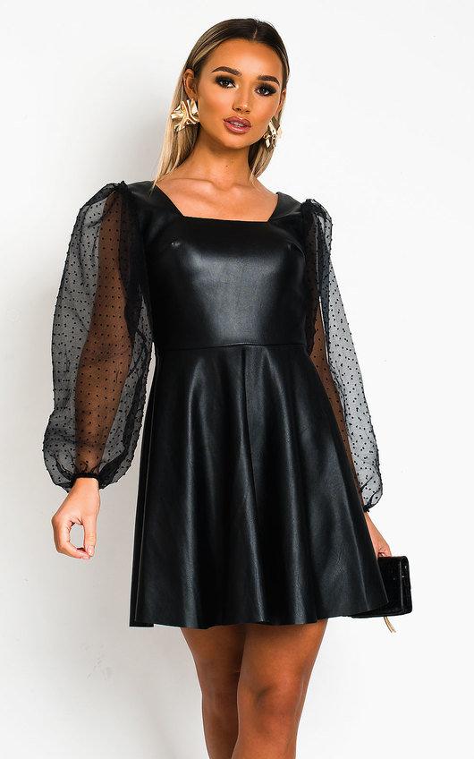 Teegan Faux Leather Puffed Sleeve Mini Dress