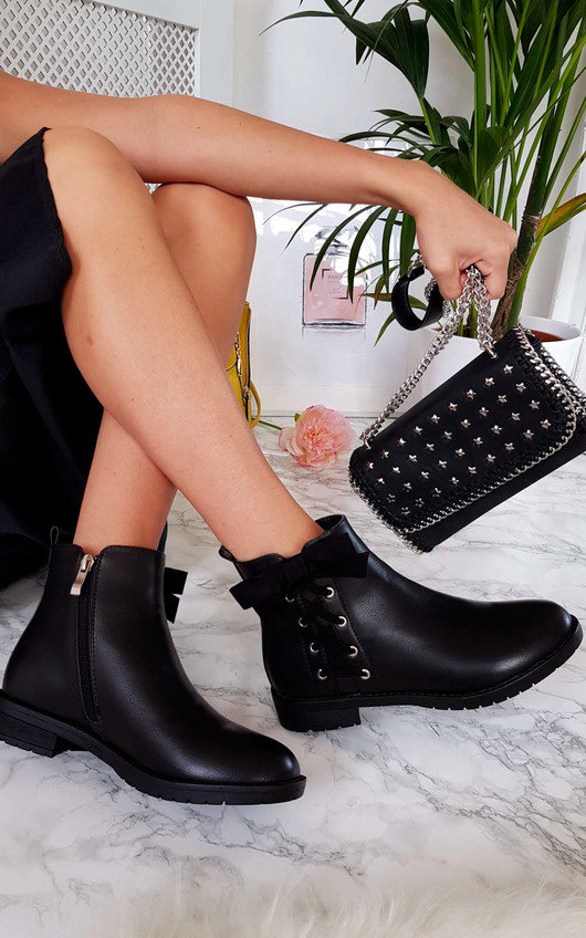 Teegan Lace Up Detail Ankle Boots