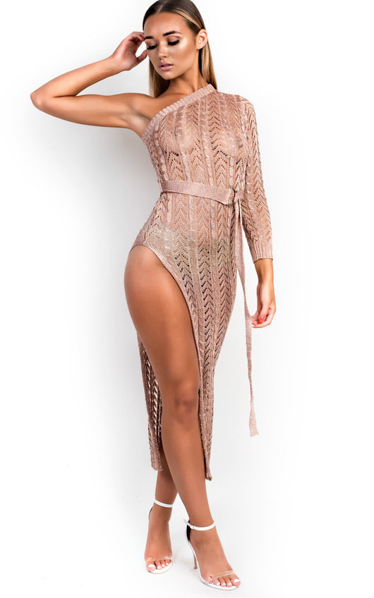 Teegan Metallic Knit Side Split Dress