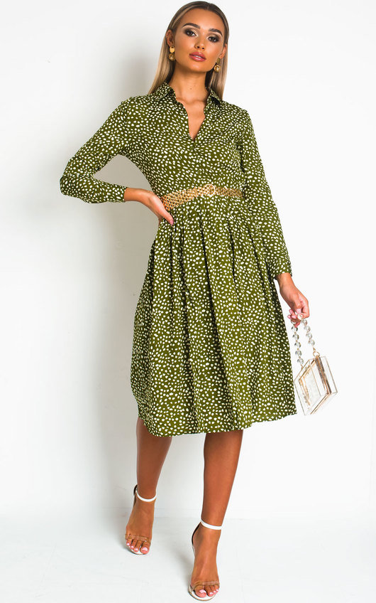 Teegan Polka Dot Shirt Midi Dress
