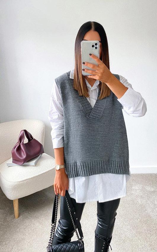 Tegan Knitted Vest Over Shirt