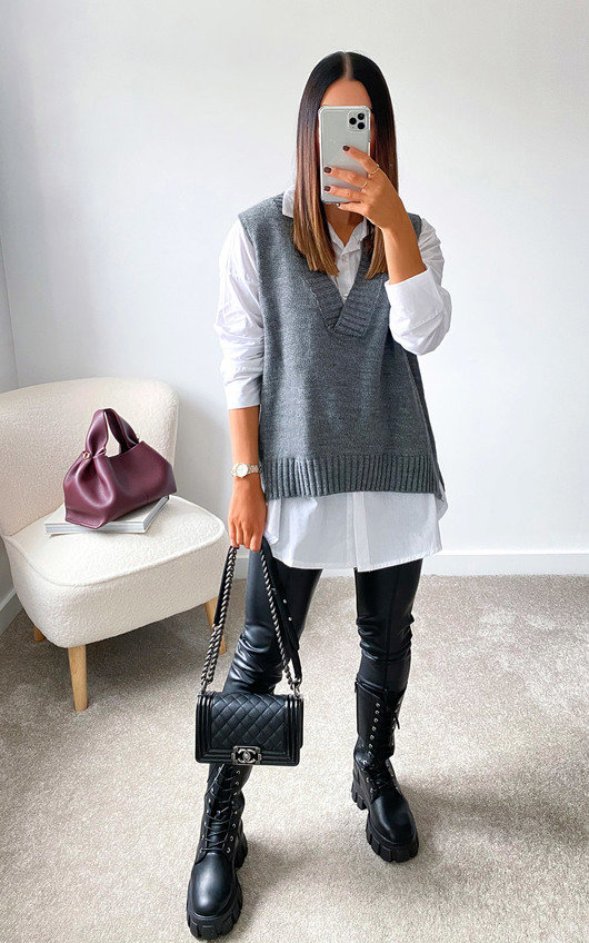 Tegan Knitted Vest Over Shirt