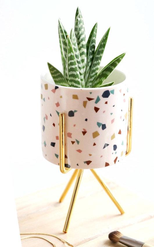 Terazzo Printed Mini Planter and Stand