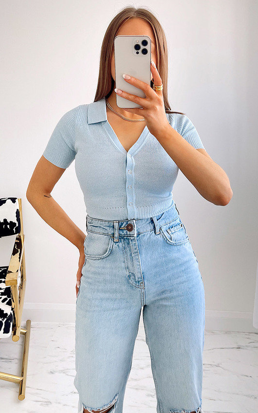 Terri Button Up Collared Knitted Bodysuit