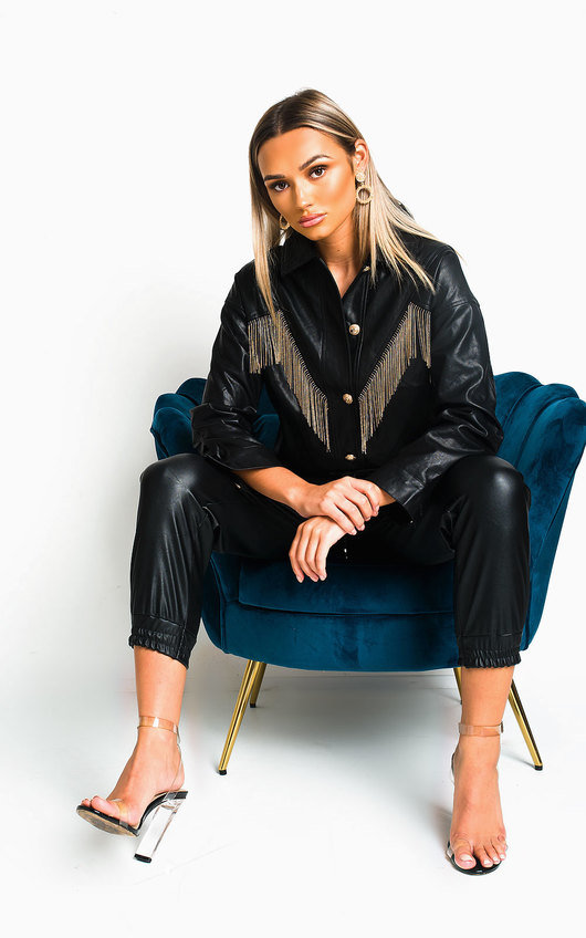Tess Faux Leather Vintage Chain Tassel Jacket