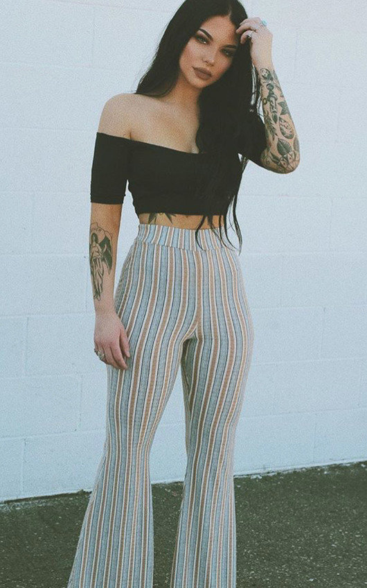 Tess High Waist Striped Flared Trousers