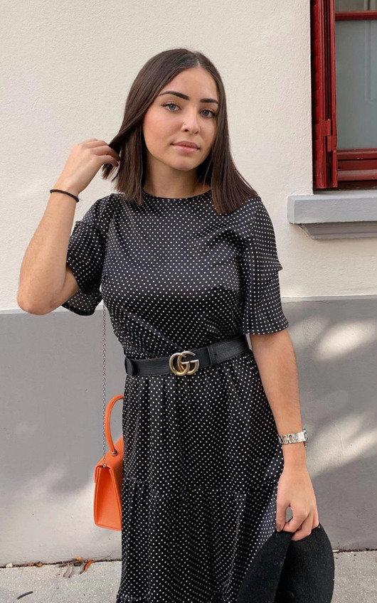 Tess Polka Dot Tiered Midi Dress