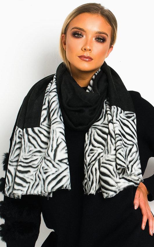 Tess Zebra Print Two Tone Scarf