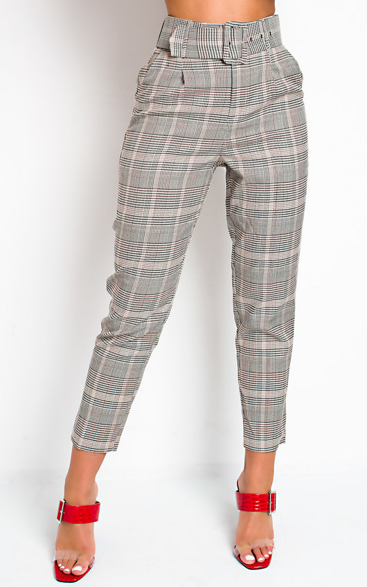 Tessi High Waist Belted Checked Trousers