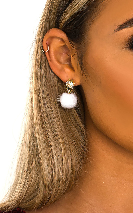 Tia Pom Pom Diamante Drop Earrings