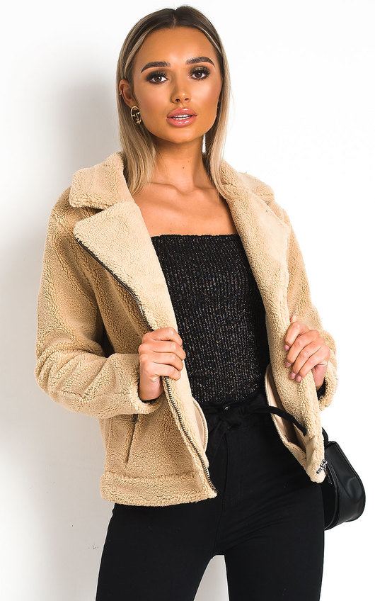Tia Teddy Bear Aviator Jacket