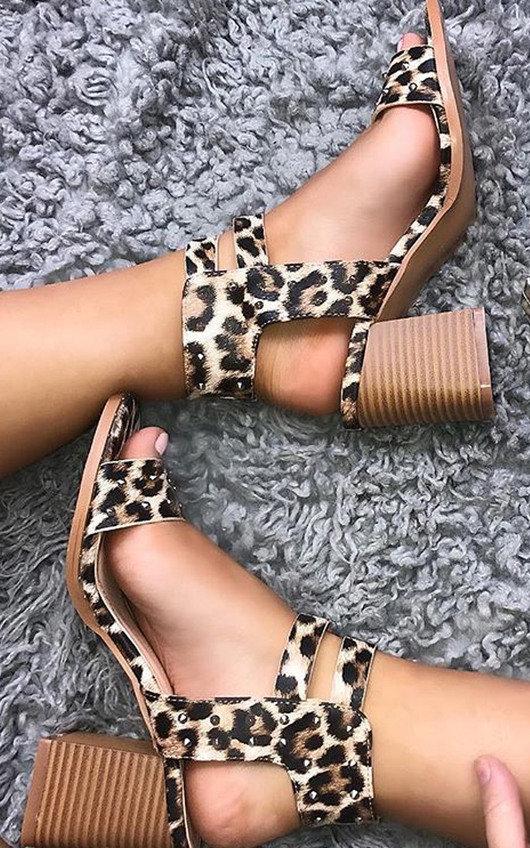 Tianah Double Strap Leopard Print Heel Sandals
