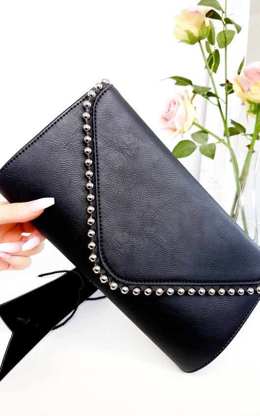 Tiff Studded Envelope Faux Leather Clutch Bag