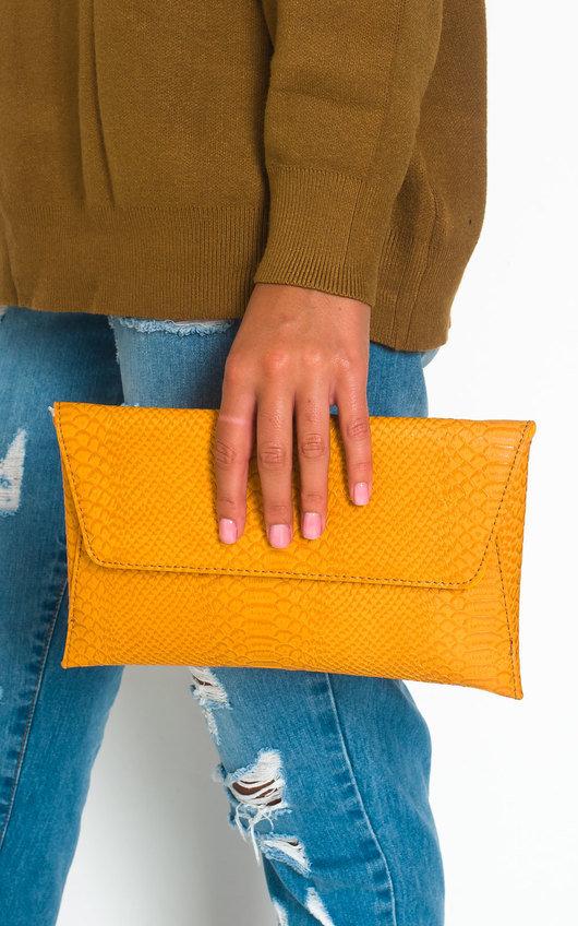 Tilda Faux Leather Envelope Clutch Bag