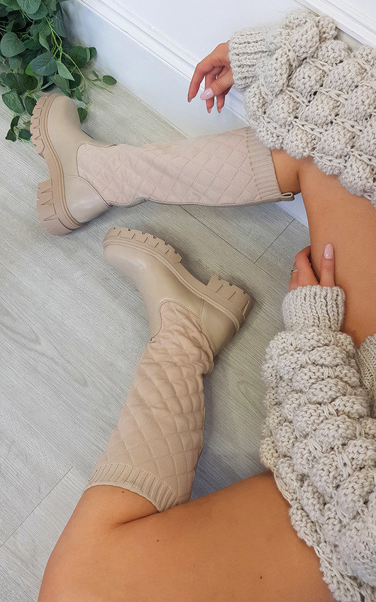 Tilly Quilted Knee High Boots