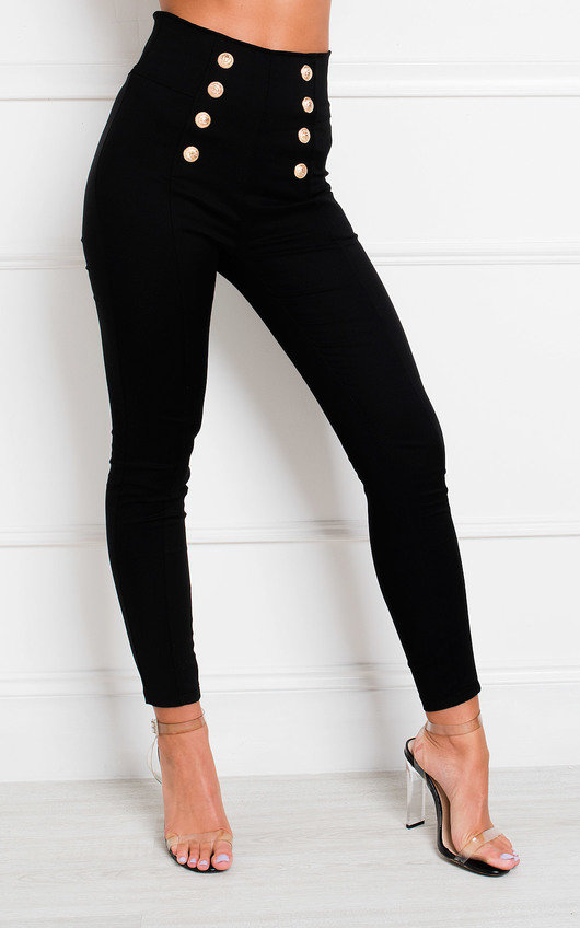 Tina Double Button High Waist Trousers