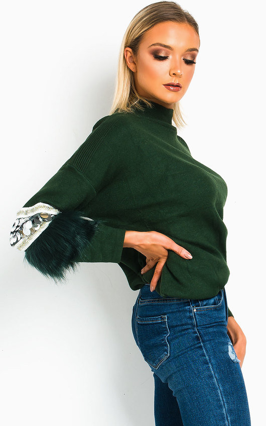 Tina Faux Fur Sequin Emebllished Jumper