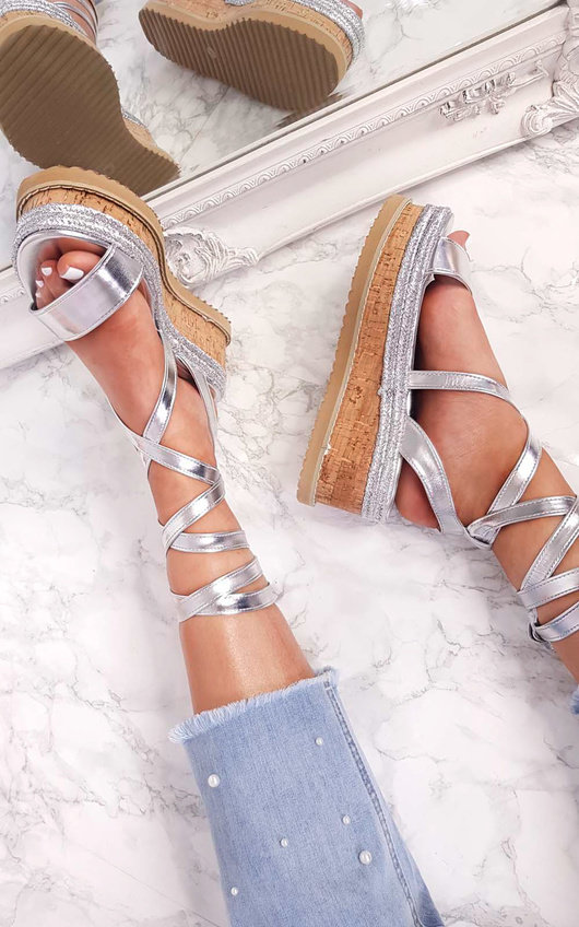 Tina Metallic Lace Up Wedge Sandal