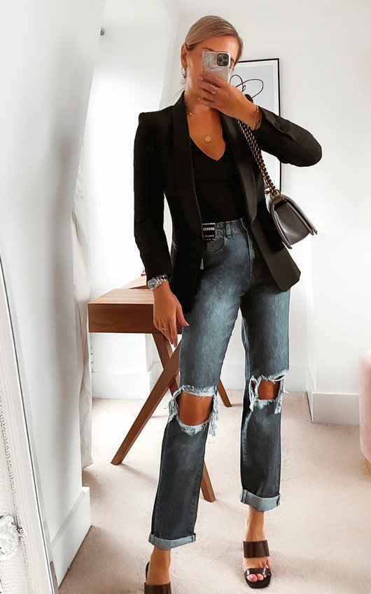 Toni Distressed Straight Leg Jeans