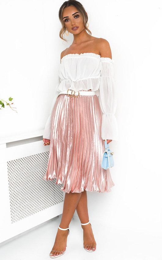 Trina Metallic Pleated Midi Skirt