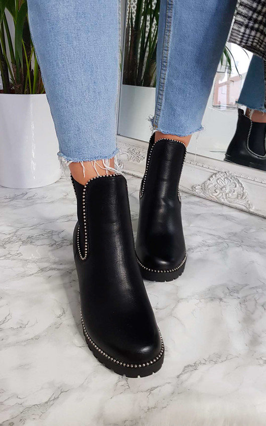 Trish Faux Leather Chunky Heel Boots