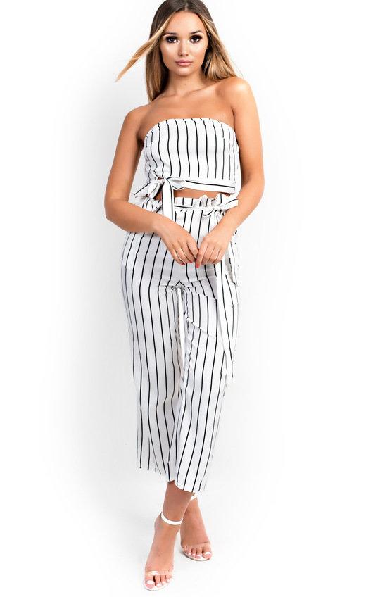 ad2566f818b Trudy Stripe Wide Leg Culotte Co-ord in White