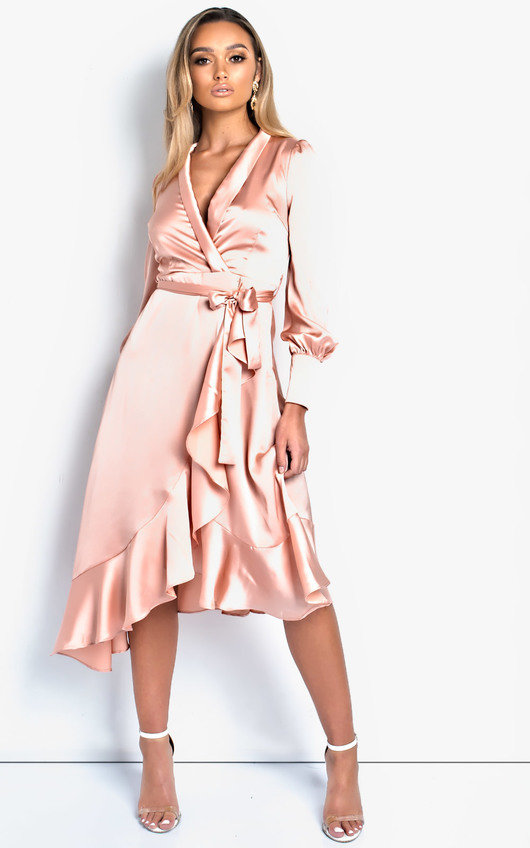 Tyla Satin Wrap Midi Dress