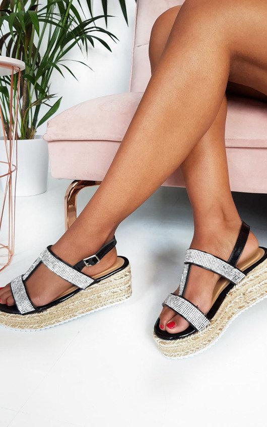 Una Diamante Embellished Wedged Sandals
