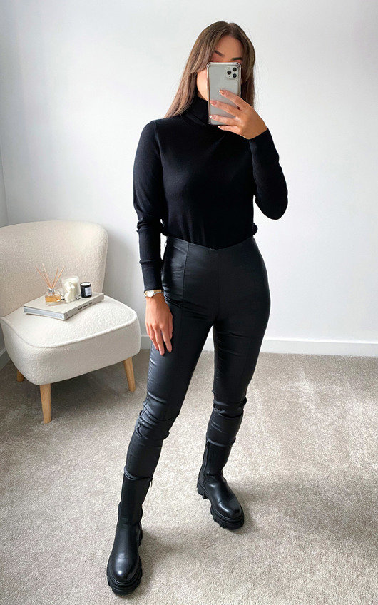 Una Faux Leather Trousers