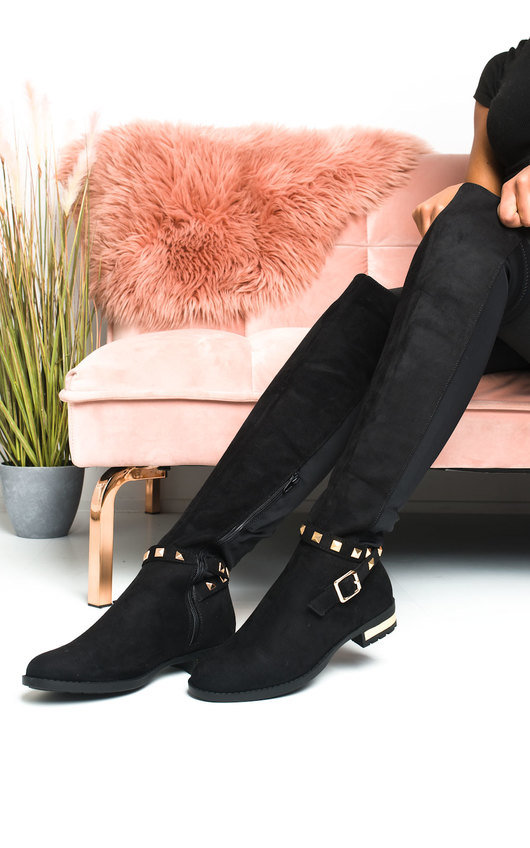 Una Faux Suede Studded Knee High Boots