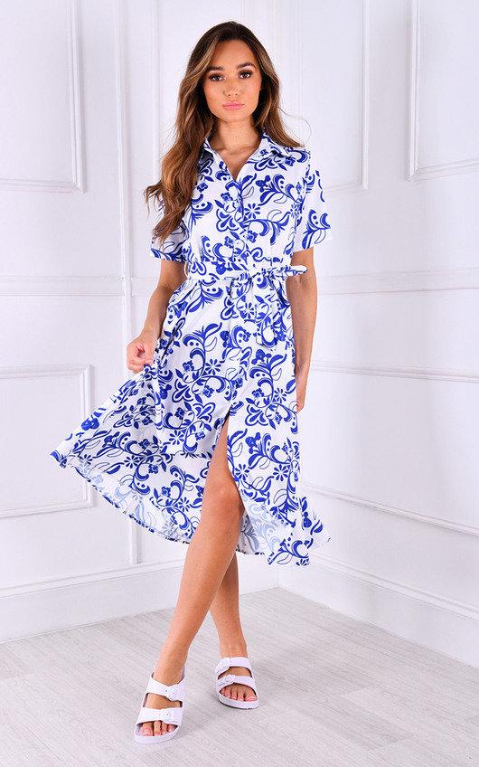 Una Tie Waist Printed Midi Dress