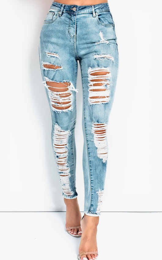 Val Distressed High-Waisted Skinny Jeans