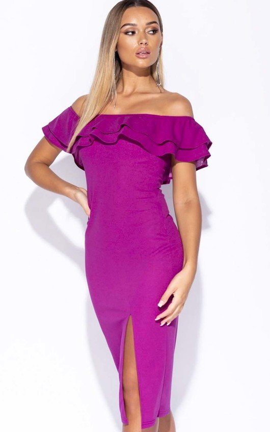 Valentina Frill Off Shoulder Midi Dress