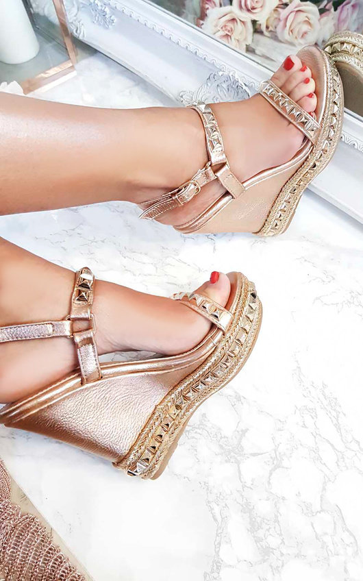 Valentine Studded Strap Wedges