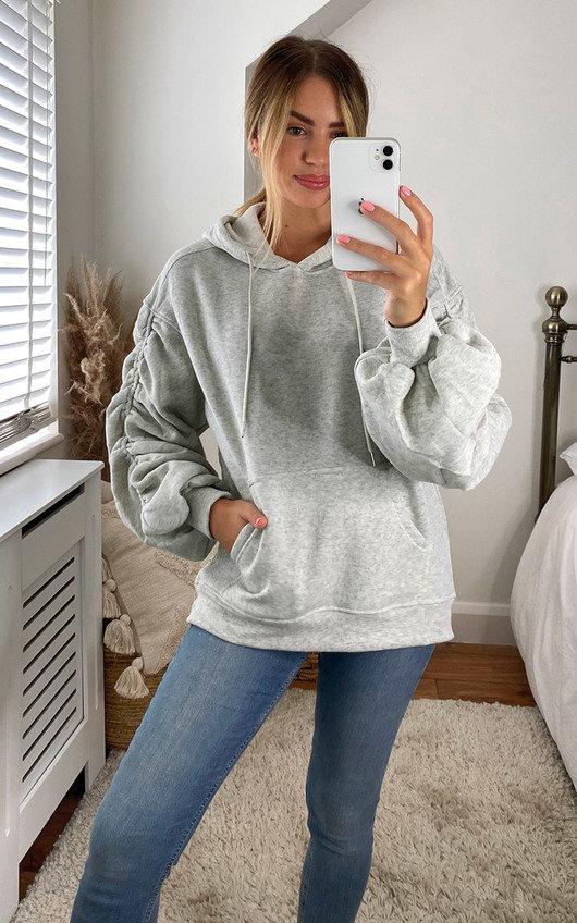 Valerie Ruched Sleeve Hooded Sweatshirt