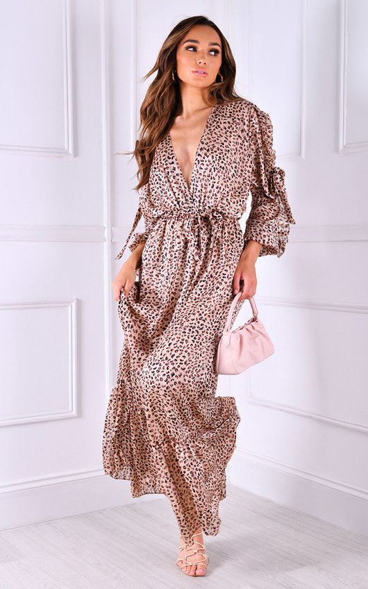Venice Plunge Neckline Long Sleeve Maxi Dress