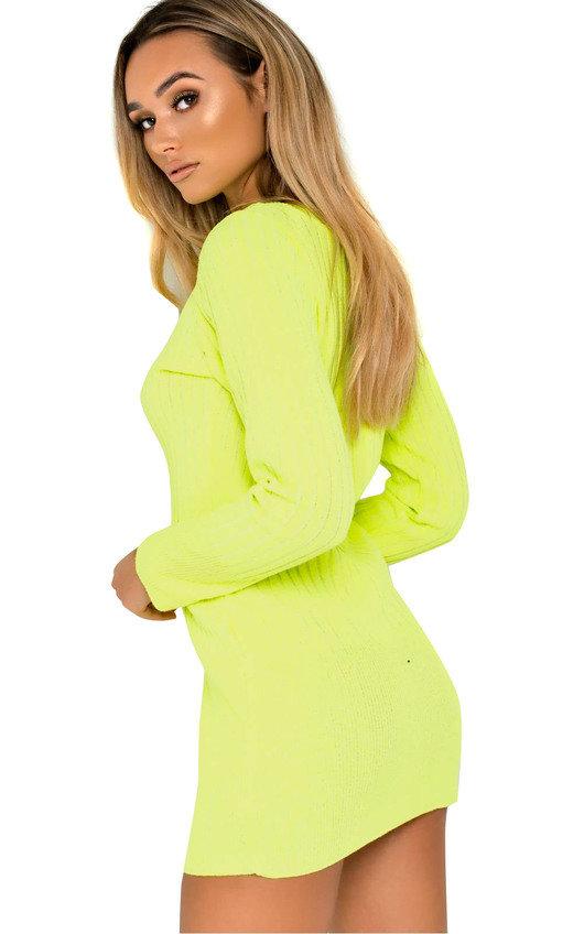 681f237b27b Vera Ribbed Knitted Jumper Dress in Neon green
