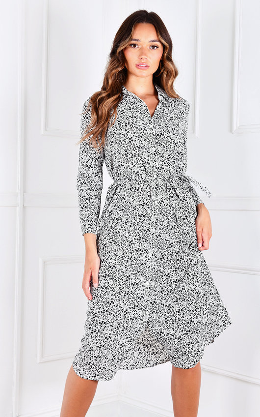 Verona Button Up Printed Midi Dress
