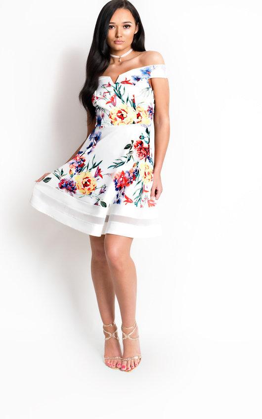 Victoria Off Shoulder Floral Skater Dress
