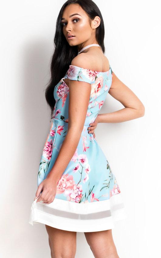 60077e41a1 Victoria Off Shoulder Floral Skater Dress in Blue | ikrush