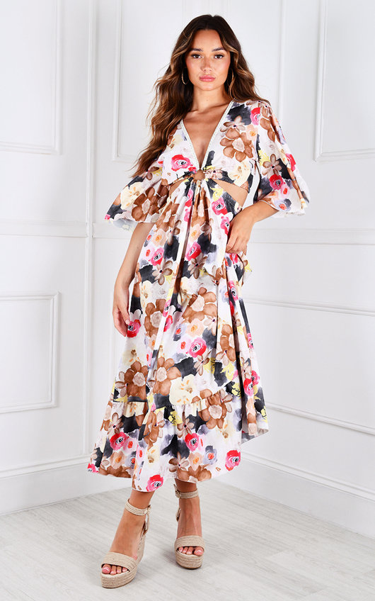 Vilma Cut Out Flute Sleeve V Neck Printed Maxi Dress