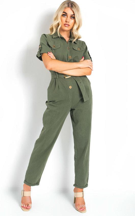 Virgo Tie Waist Button Up Utility Jumpsuit