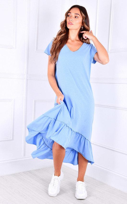 Vita Hi-Lo Ruffle Hem Oversized T-Shirt Dress