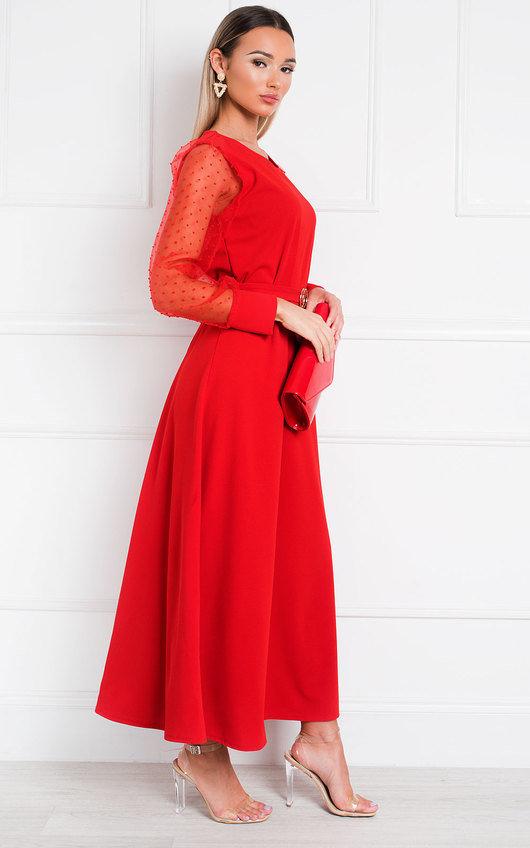 Viv Mesh Sleeve Maxi Dress