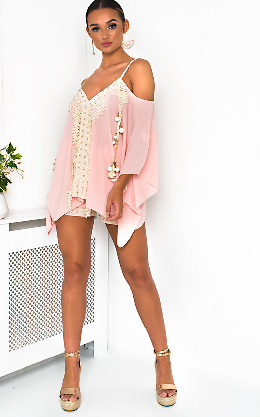 Vivi Crochet Embellished Top & Shorts Co-Ord