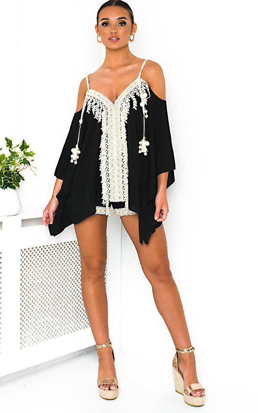 c7863b542413 Vivi Crochet Embellished Top & Shorts Co-Ord in Black   ikrush