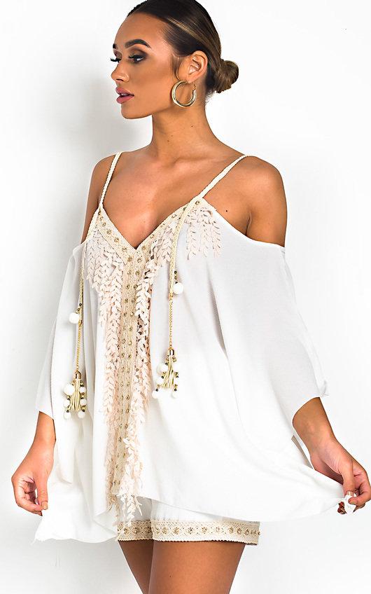 Vivi Crochet Embellished Top & Shorts Co-Ord