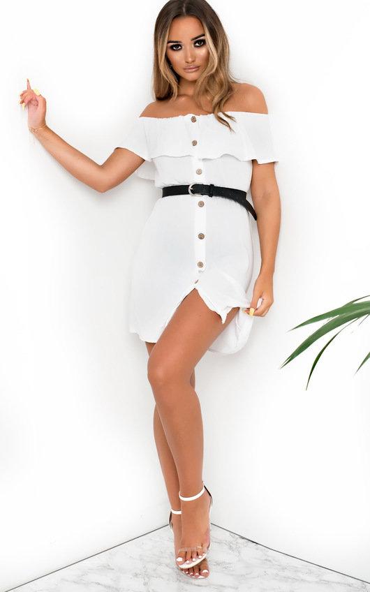 edcdd7417f8 Vivi Off Shoulder Button Up Dress in White